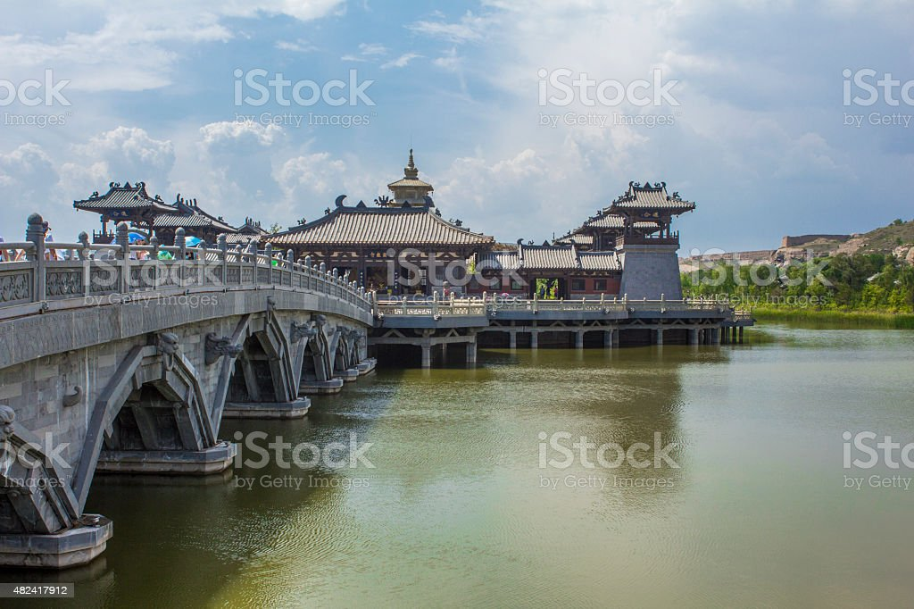 Lingyan Temple outside Yungang Grottoes stock photo