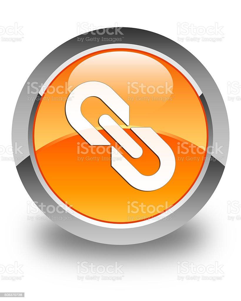 Link icon glossy orange round button stock photo
