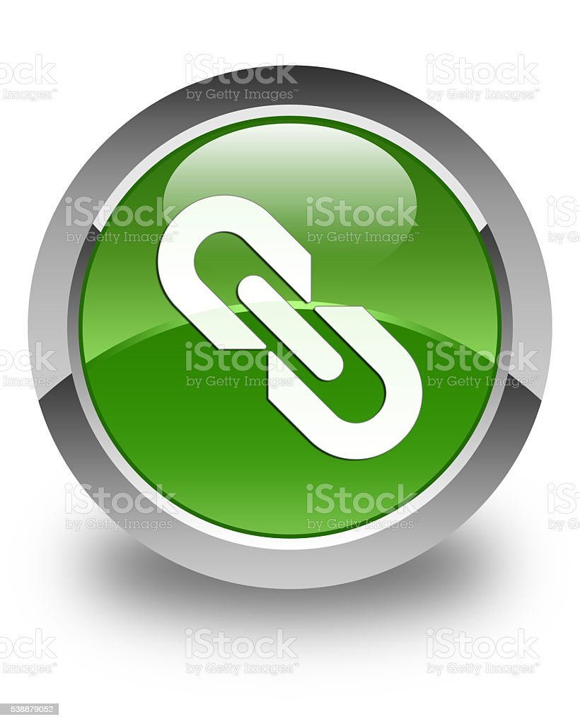 Link icon glossy soft green round button stock photo