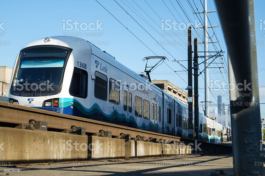 Link Light Rail leaving SODO station stock photo