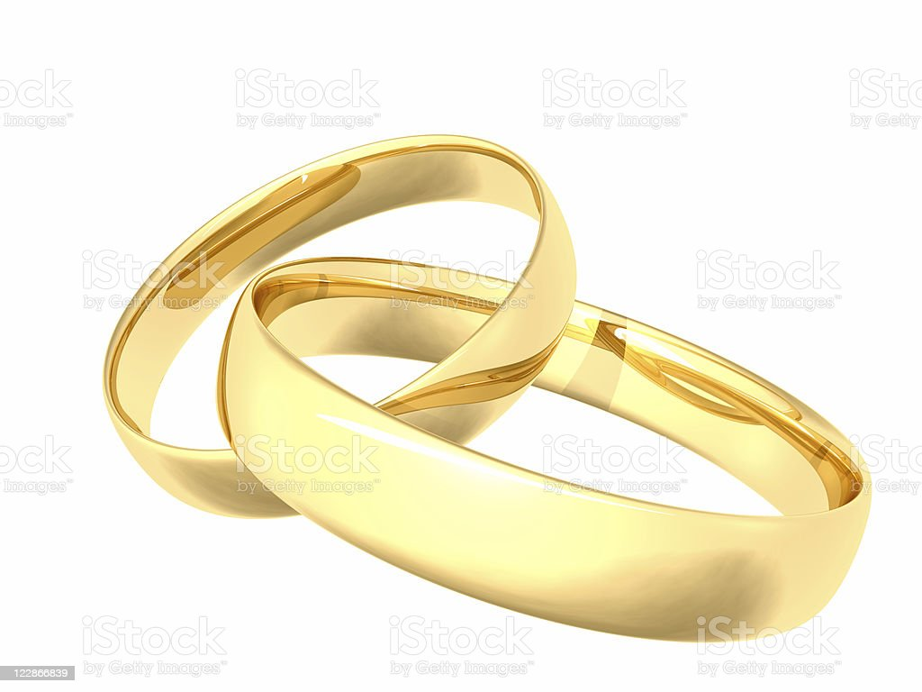 Linked Gold Wedding Rings royalty-free stock photo