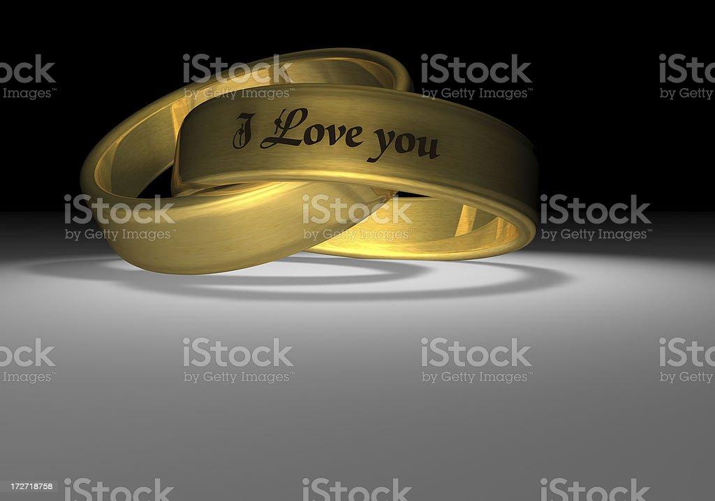 linked golden wedding rings royalty-free stock photo