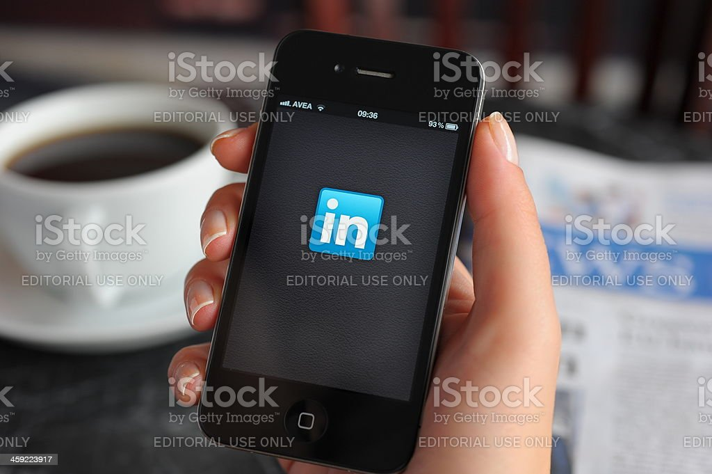LinkedIn app on Apple iPhone 4 stock photo