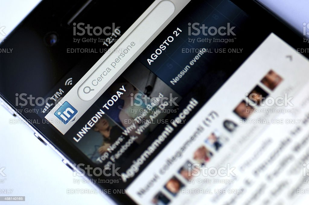 Linkedin Application home page stock photo
