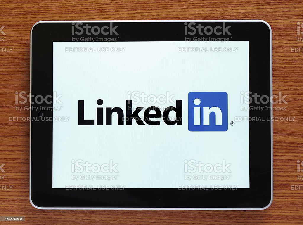 LinkedIn on iPad stock photo