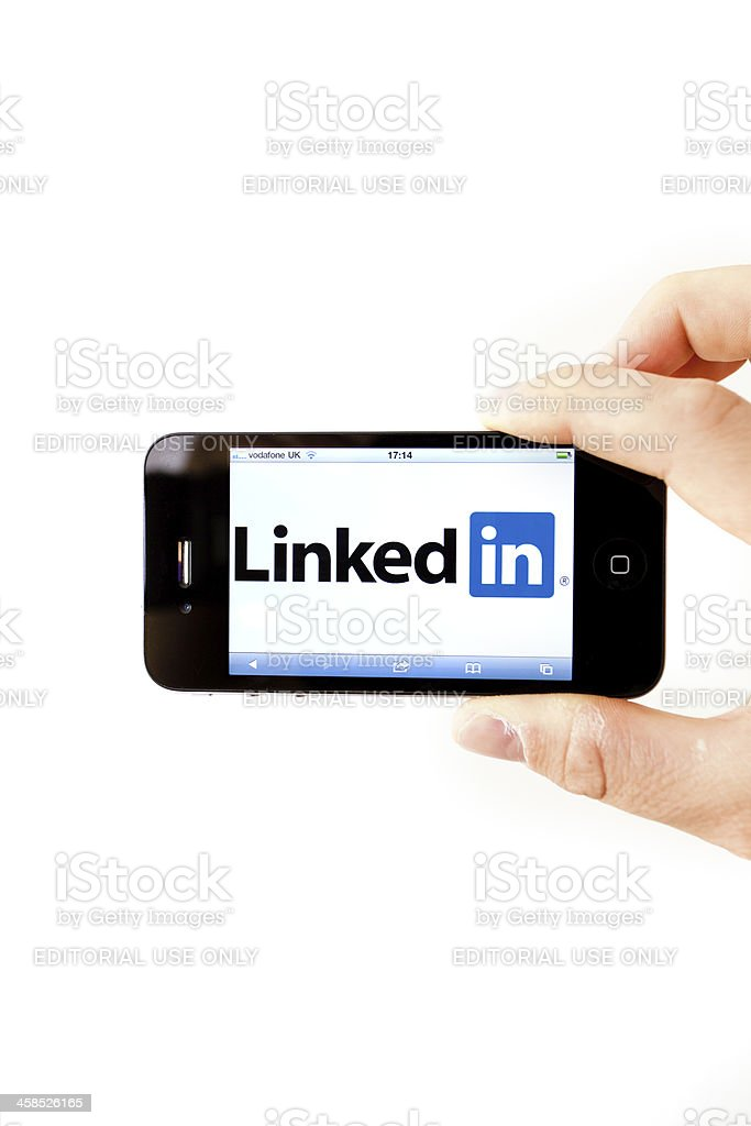Linkedin Professional Social Network on Iphone 4 stock photo