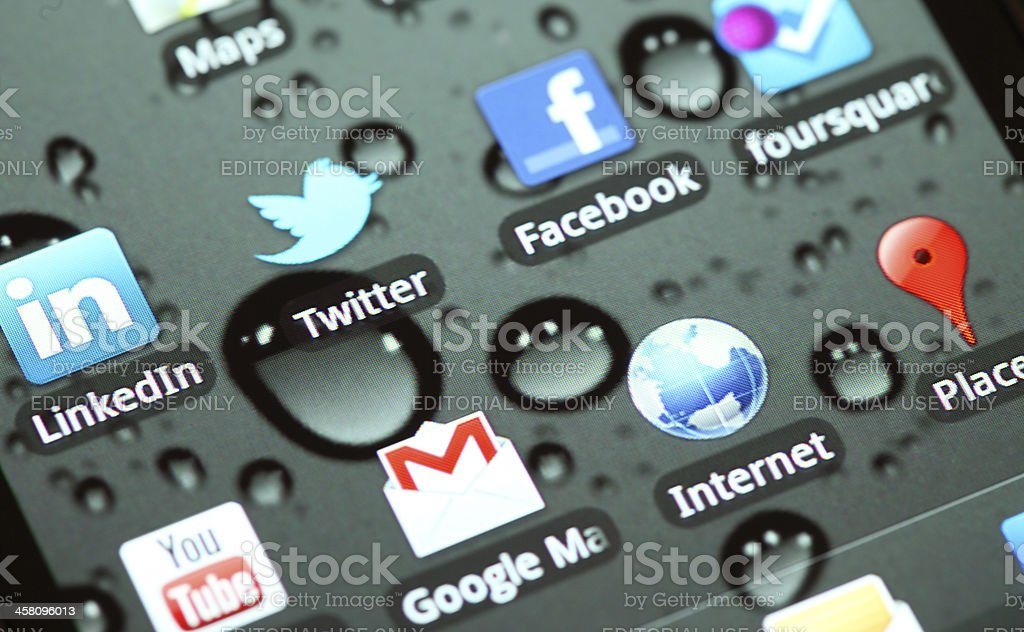 LinkedIn, Twitter, Facebook, Foursquare on Samsung Android Phone royalty-free stock photo