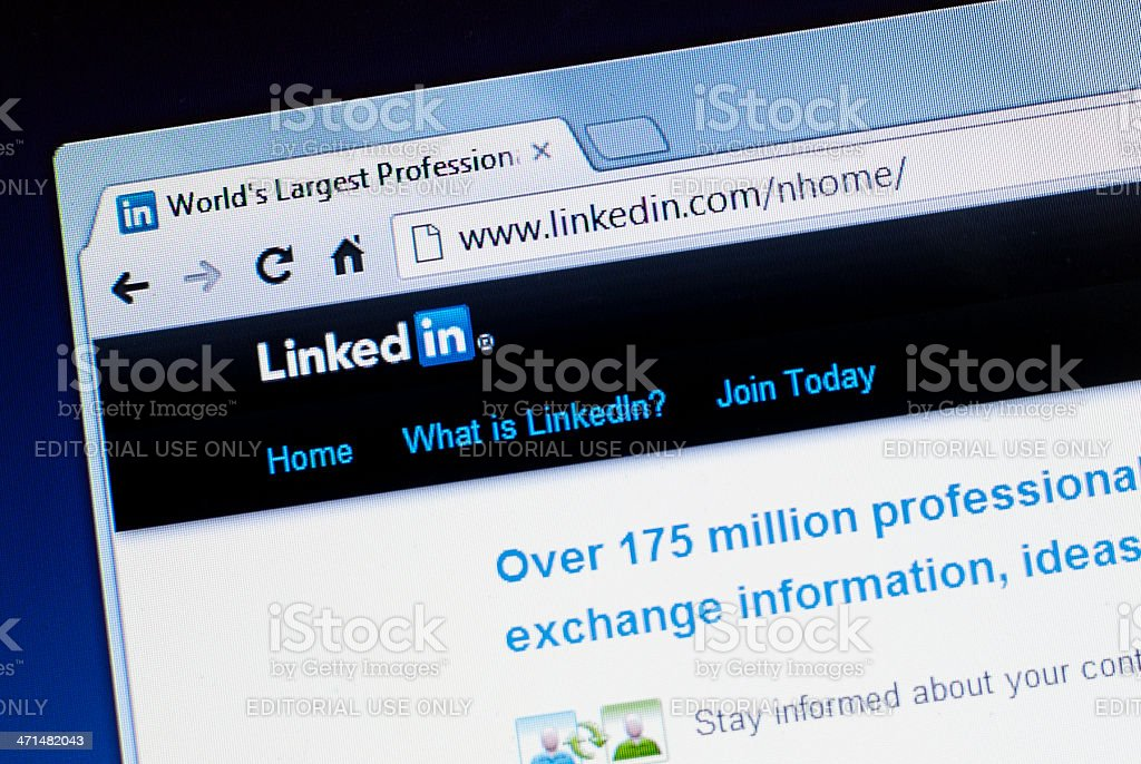 Linkedin website homepage screenshot stock photo