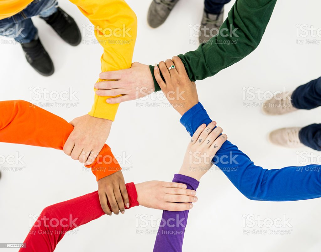 Linking Arms Together for Gay Pride stock photo