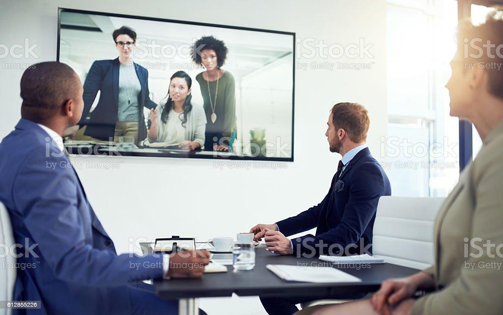 Linking up from around the globe stock photo