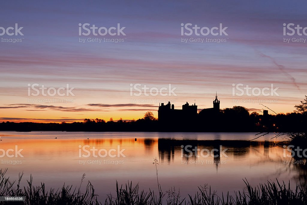 Linlithgow Loch and Palace Sunrise. stock photo