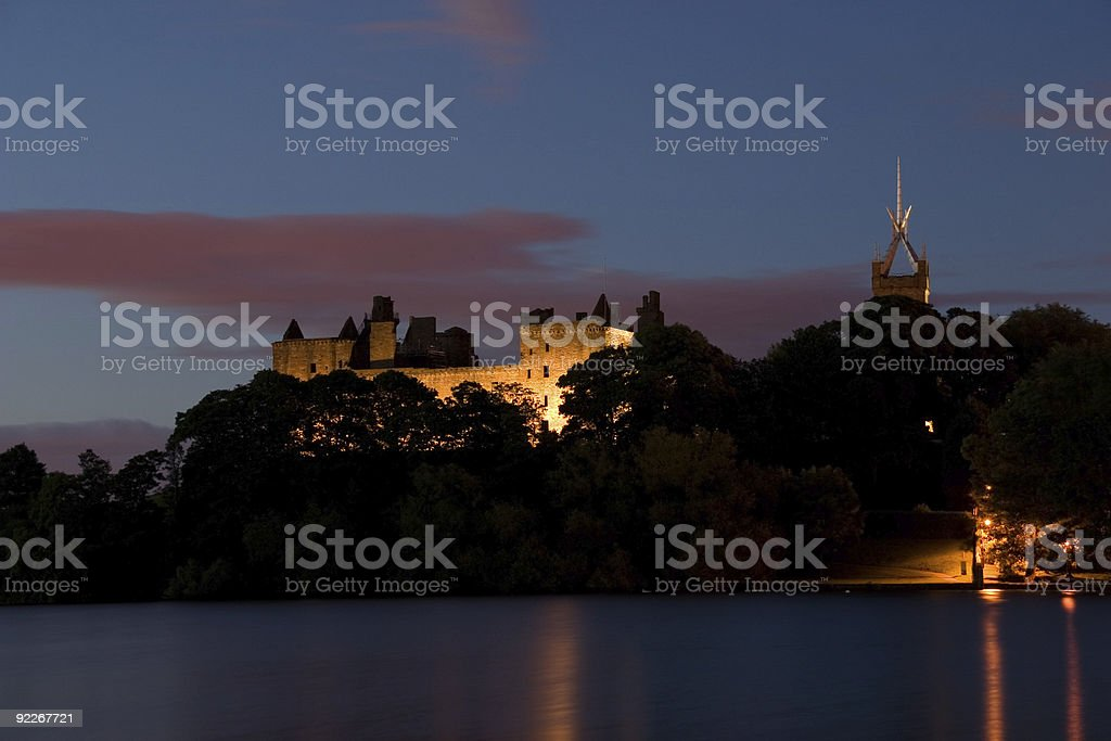Linlithgow Palace and Loch stock photo