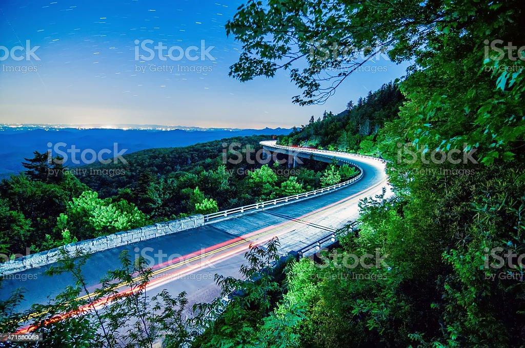linn cove viaduct at night royalty-free stock photo