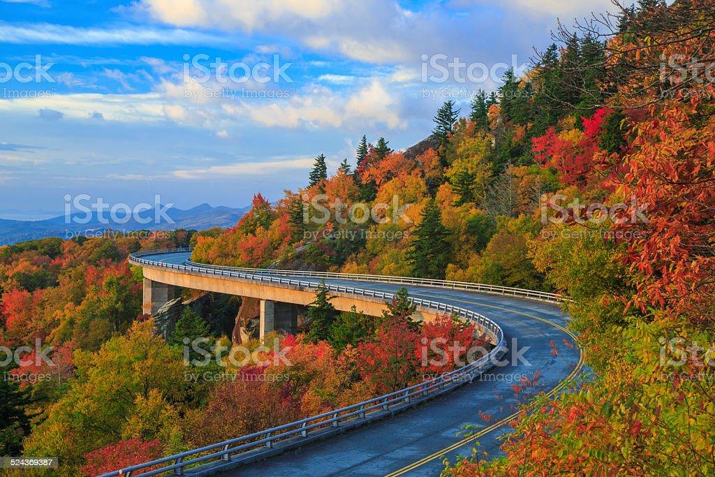 Linn Cove Viaduct - Blue Ridge parkway fall stock photo