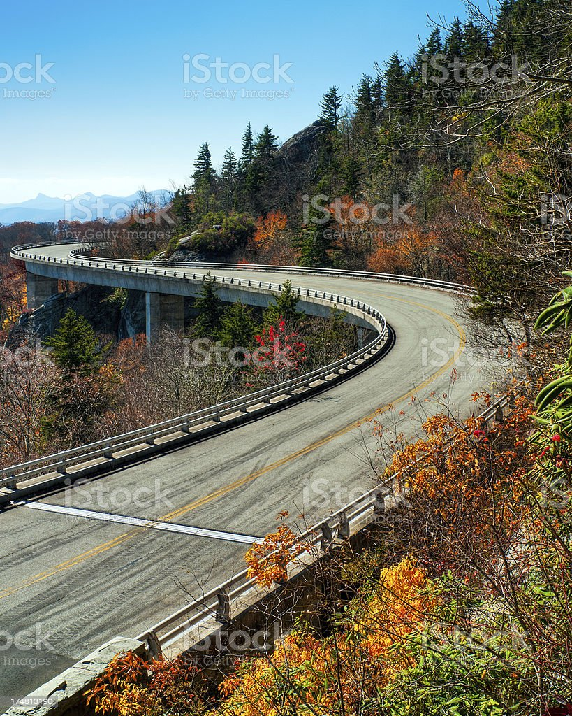 Linn Cove Viaduct, Blue Ridge Parkway, North Carolina stock photo