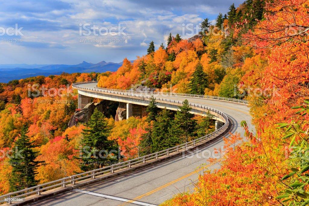 Linn Cove Viaduct, Blue Ridge Parkway, North Carolina stock photo