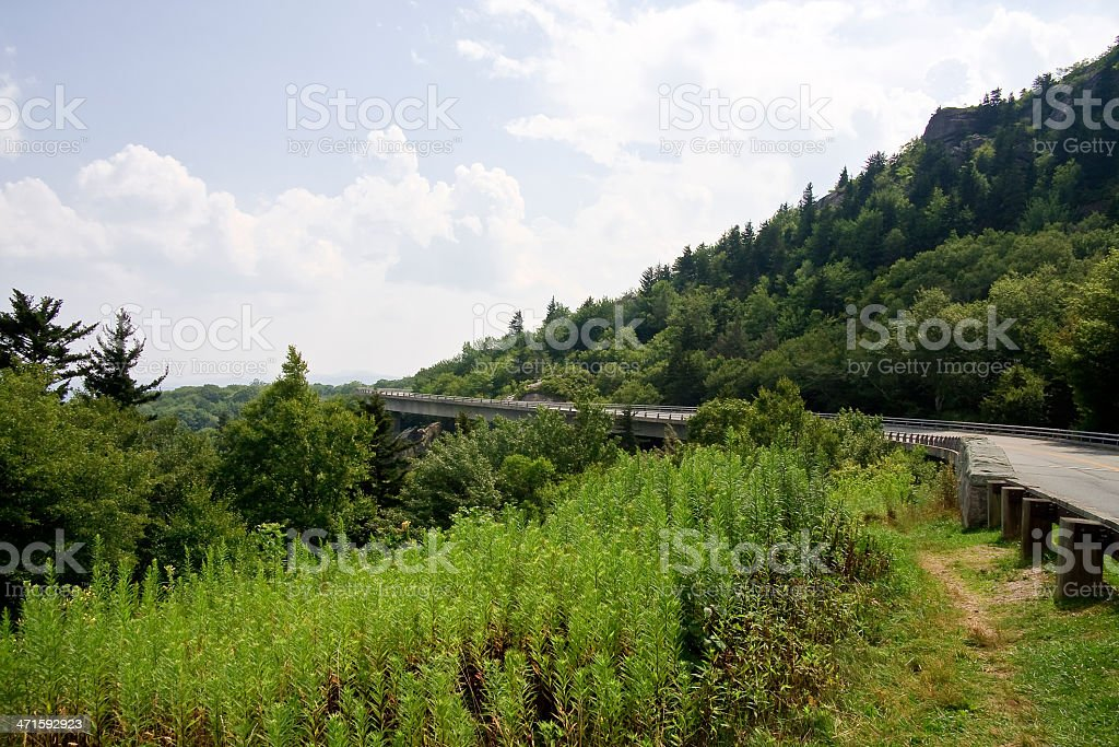Linn Cove Viaduct Blue Ridge Parkway stock photo