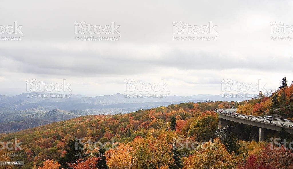 Linn Cove Viaduct in Autumn stock photo