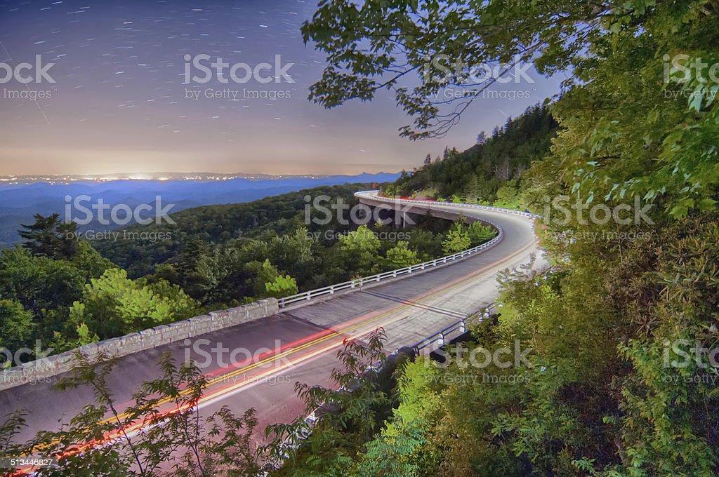 linn cove viaduct in blue ridge mountains at night stock photo