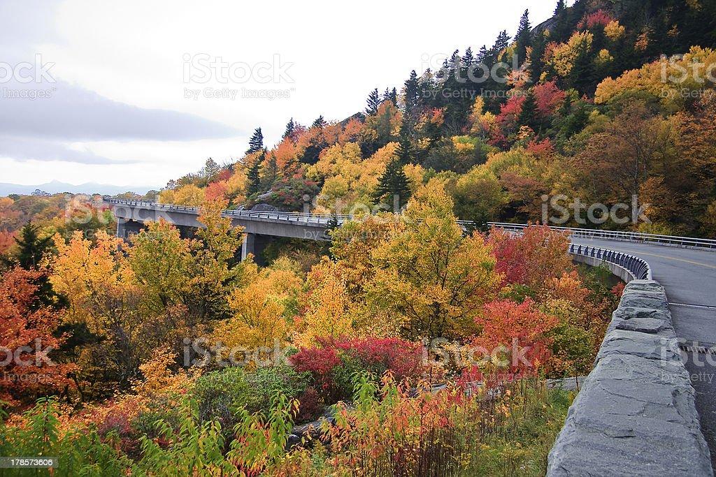 Linn Cove Viaduct in North Carolina stock photo