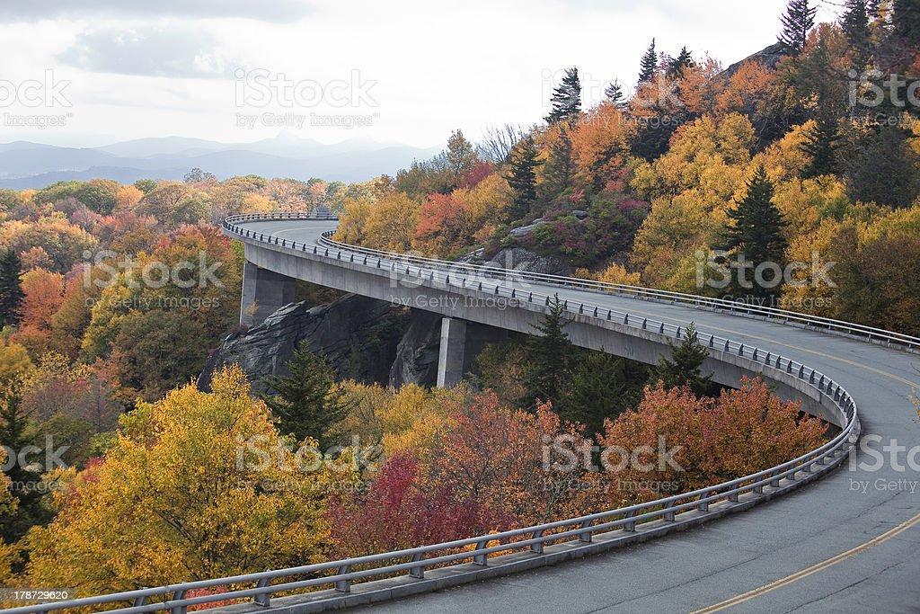 Linn Cove Viaduct in the Fall Season stock photo