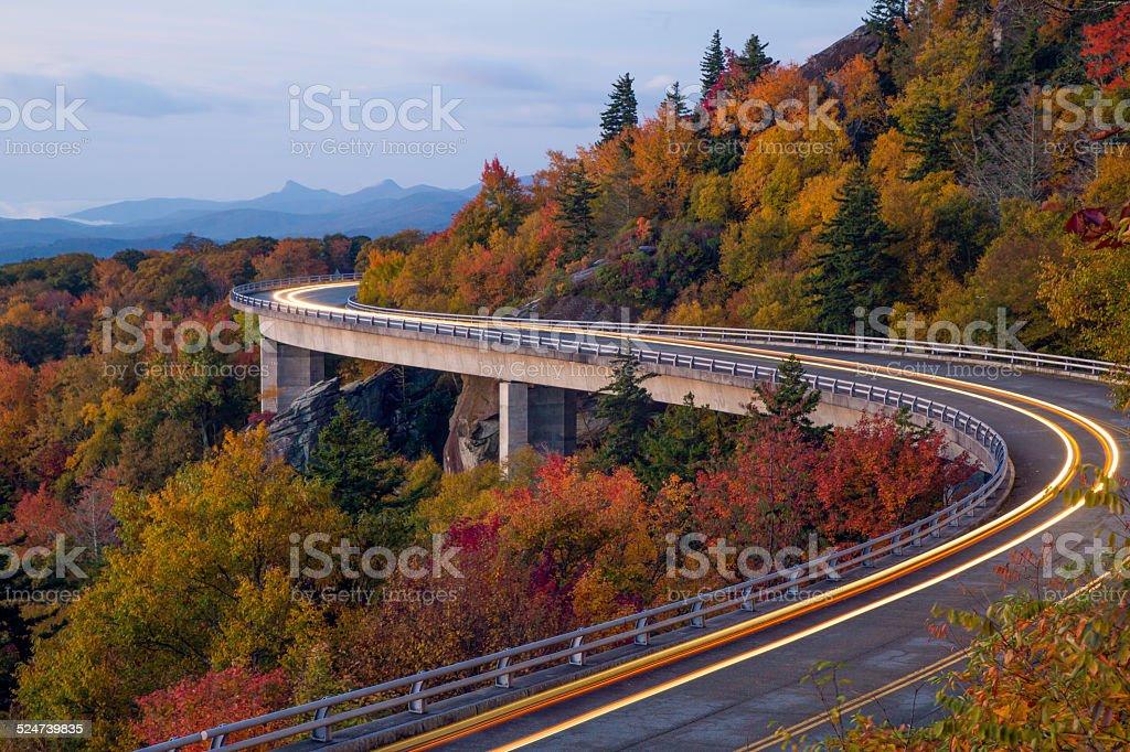 Linn Cove Viaduct Light Trails stock photo
