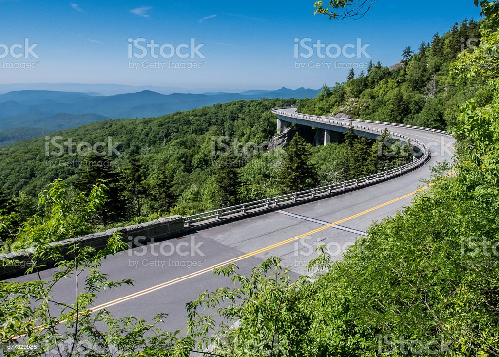 Linn Cove Viaduct Stretches Out stock photo
