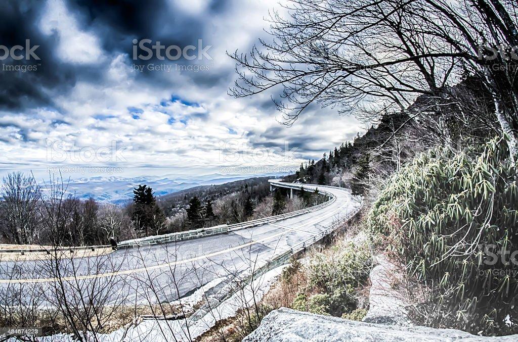 linn cove viaduct winter scenery stock photo