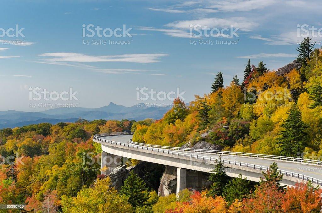 Linn Cove Viaduct-Autumn stock photo