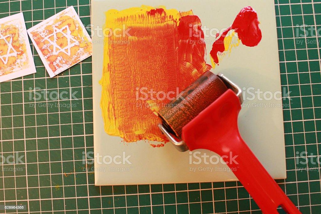 Lino printing stock photo
