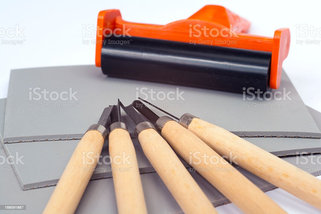 Linocut stock photo