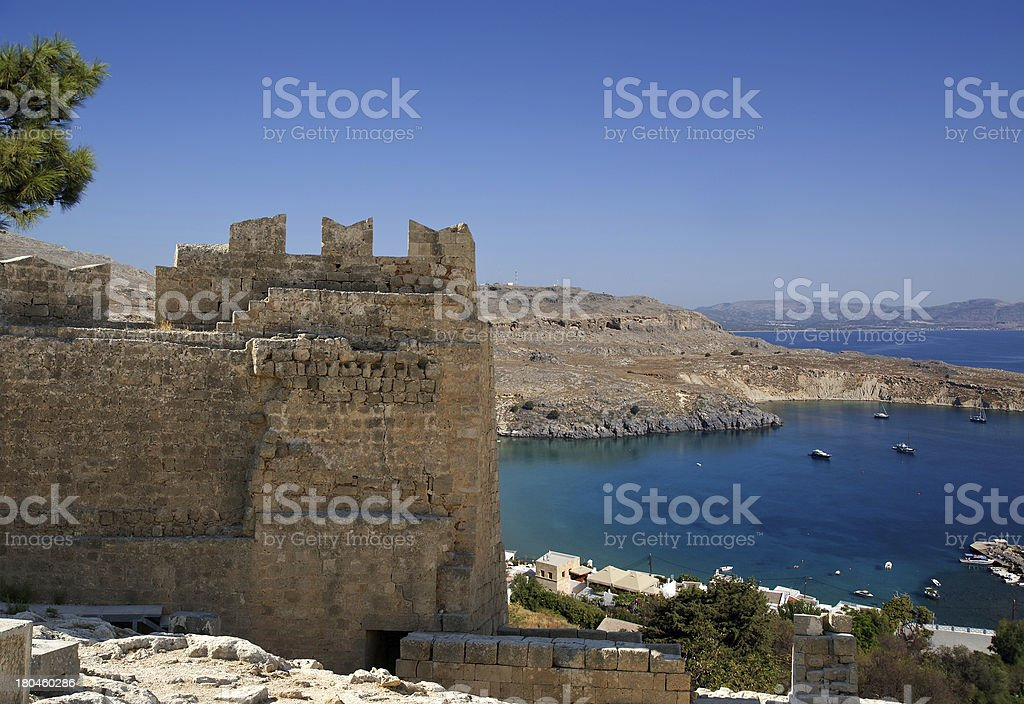 Linods Acropolis on Rhodos Ancient Archeological site, Greece royalty-free stock photo