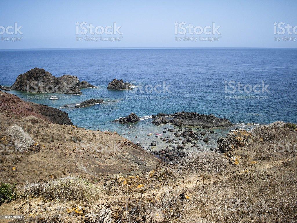 Linosa cliff stock photo