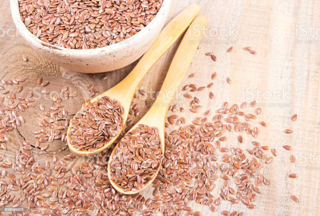 Linseed, flax seeds - concept of healthy nutrition. stock photo