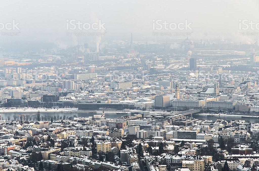 Linz in Winter stock photo
