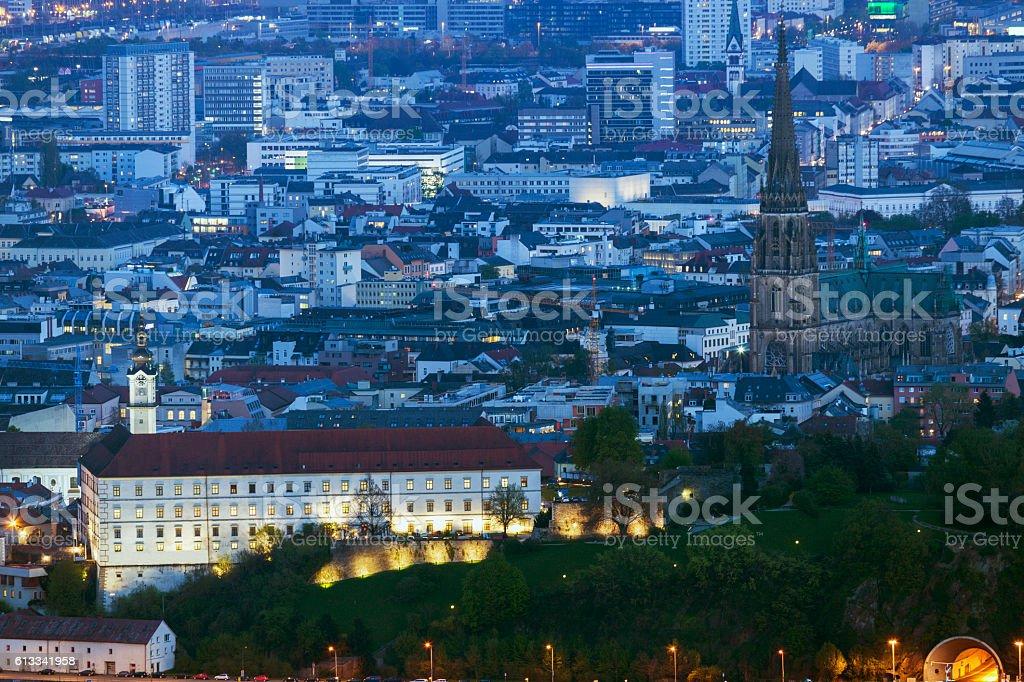 Linz panorama at night stock photo