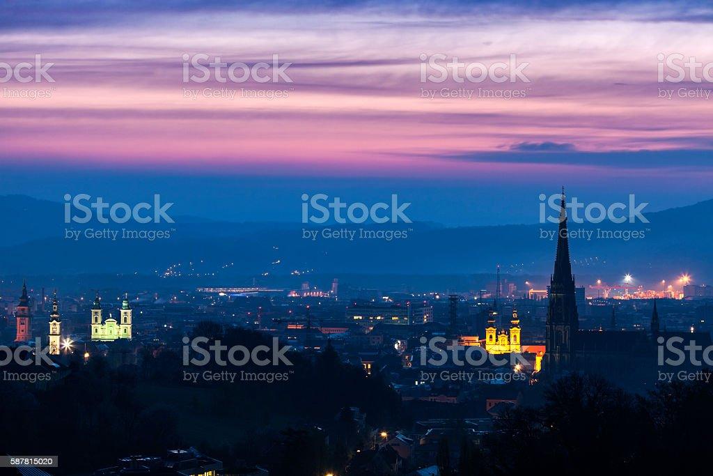 Linz panorama at sunrise stock photo