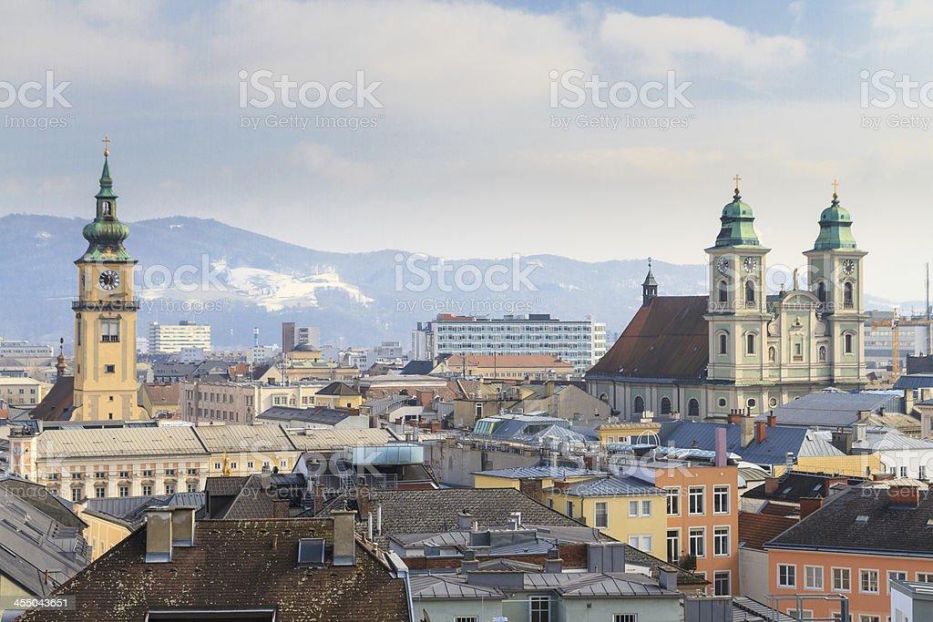 Linz, View on old city, Austria stock photo