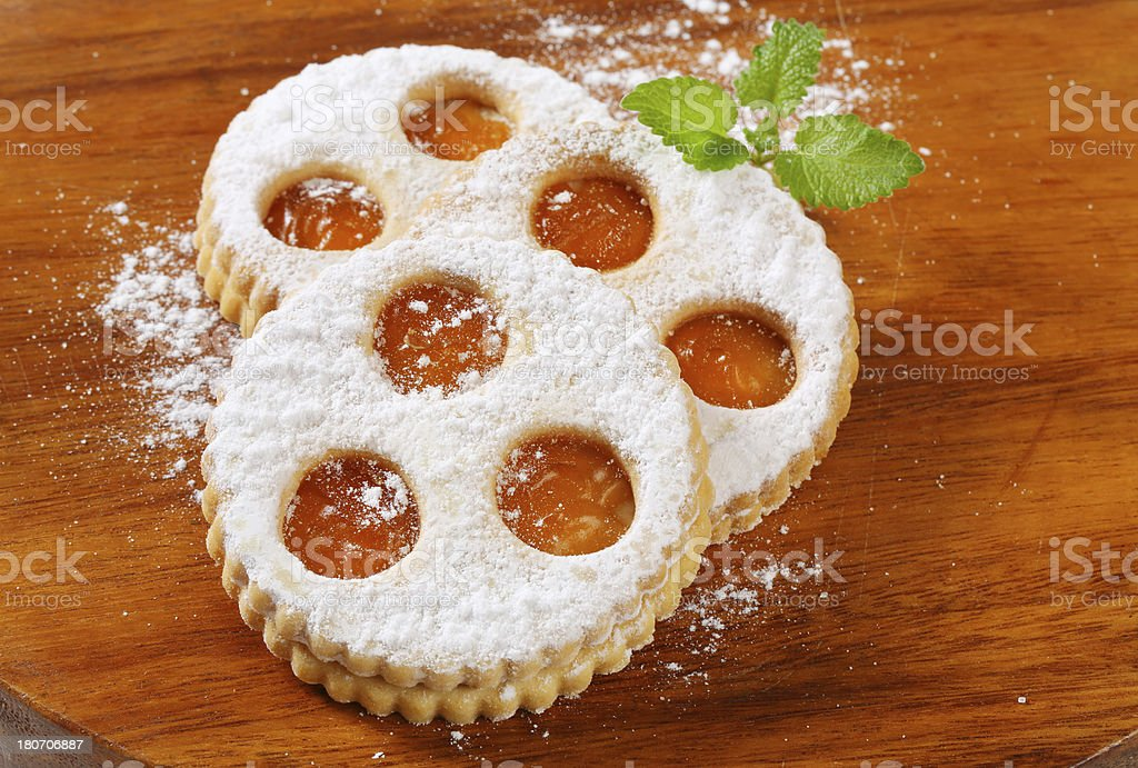 linzer cookies stock photo