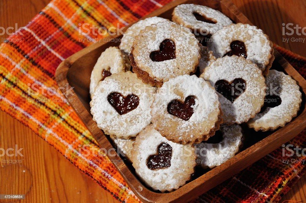 Linzer cookies stock photo