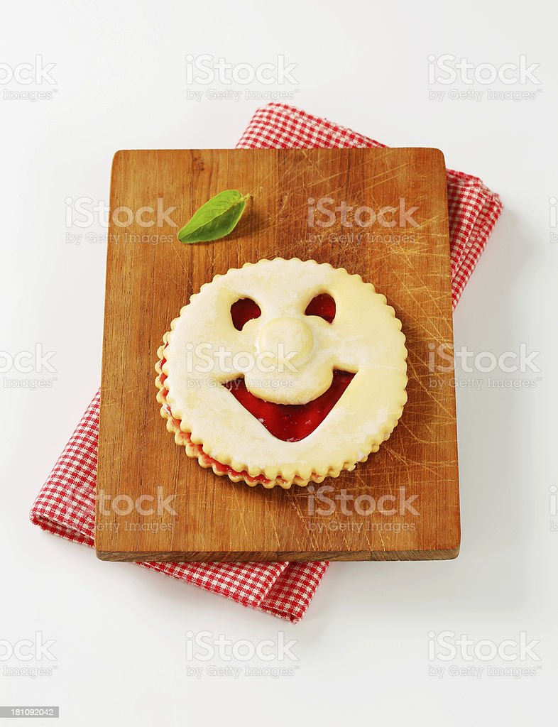 linzer smiling cookie royalty-free stock photo