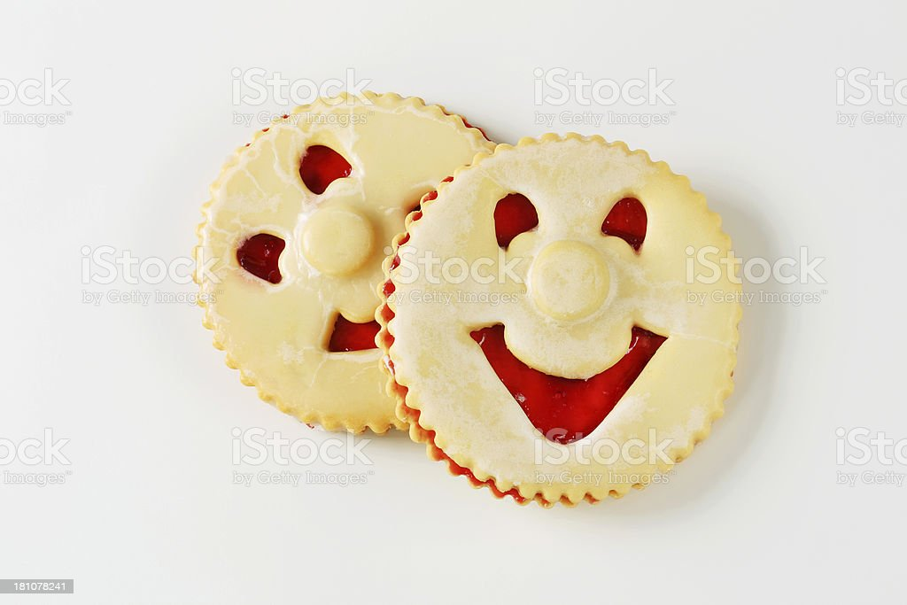 linzer smiling cookies stock photo