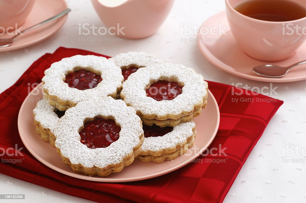 Linzer Torte Cookies and Tea stock photo