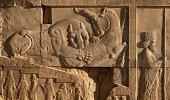 Lion and Bull Fighting Beside an Achaemenid Soldier in Persepolis