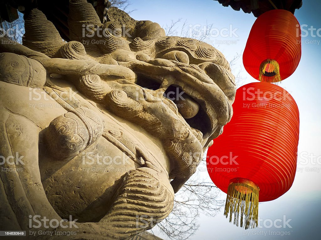 Lion and lanterns royalty-free stock photo