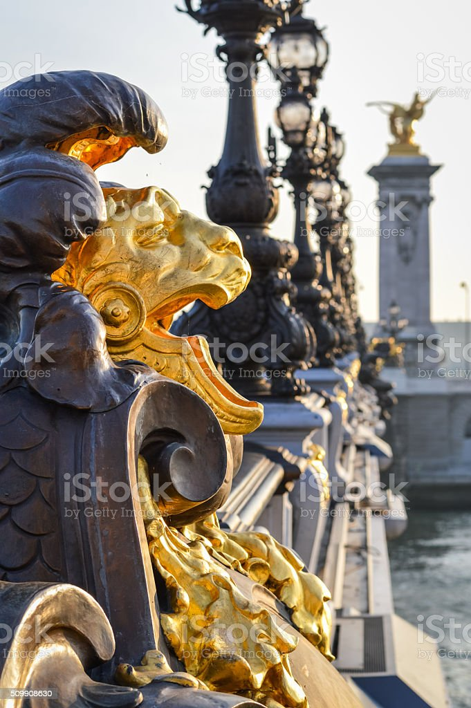 Lion at Pont Alexandre III - Paris stock photo