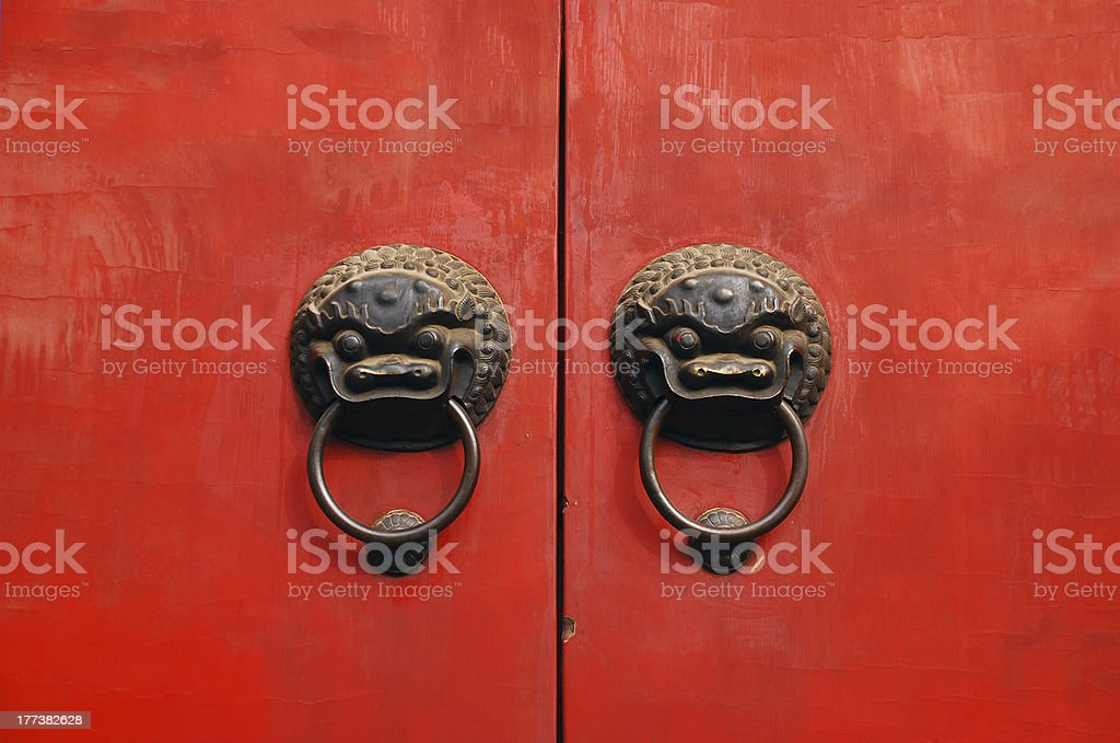 lion chines door hand grip royalty-free stock photo