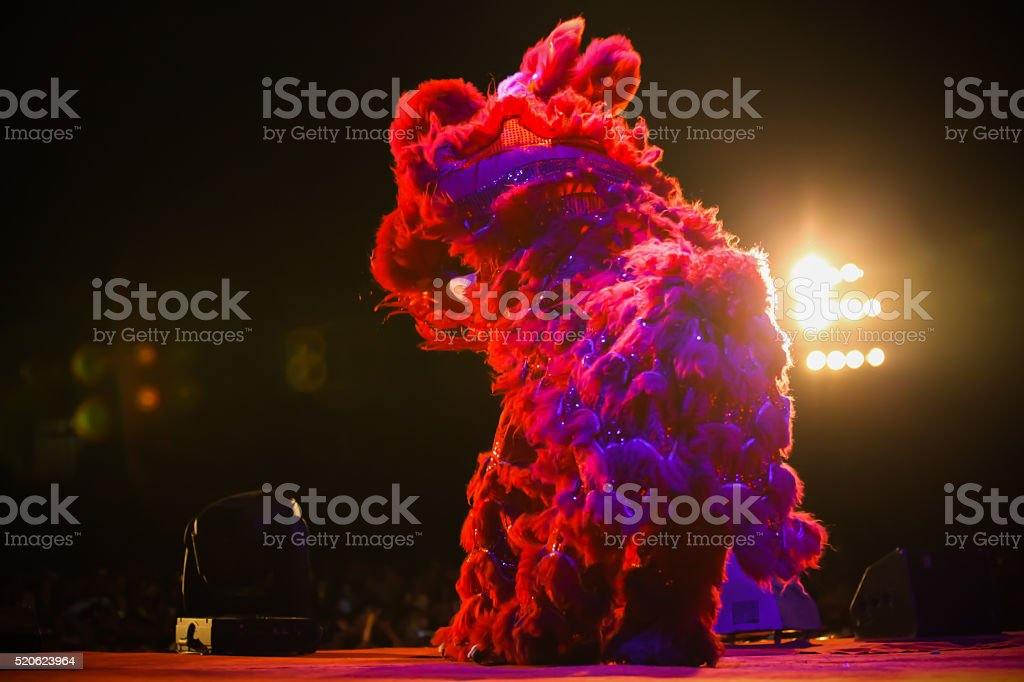 Lion dance at night stock photo