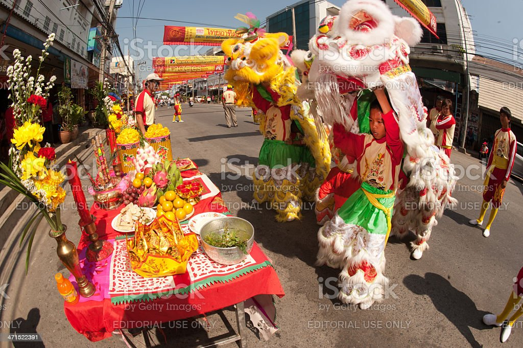 Lion dance at worship parades. royalty-free stock photo