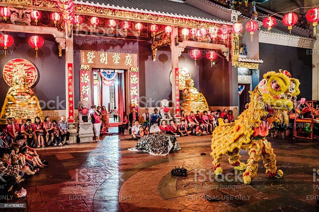 Lion Dance Chinatown Bangkok stock photo